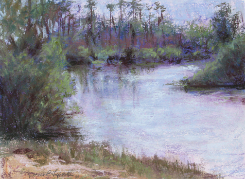 Banks of Loxahatchee - 9x12 - Pastel on sanded paper
