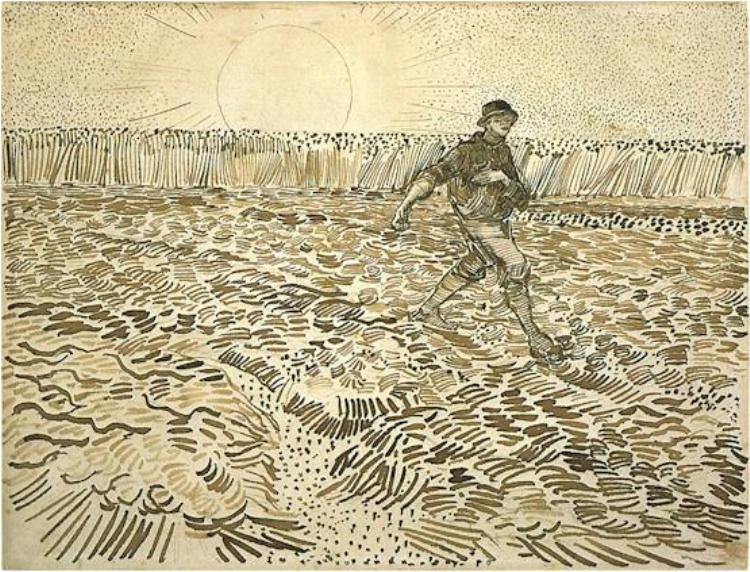 van Gogh drawing - Sower-with-Setting-Sun