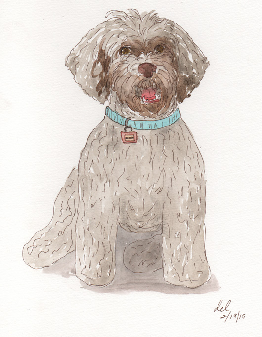 Mokie Sits Pretty - ink and watercolor