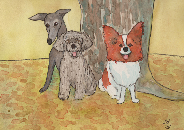 Mokie and Cooper under the tree - watercolor, ink