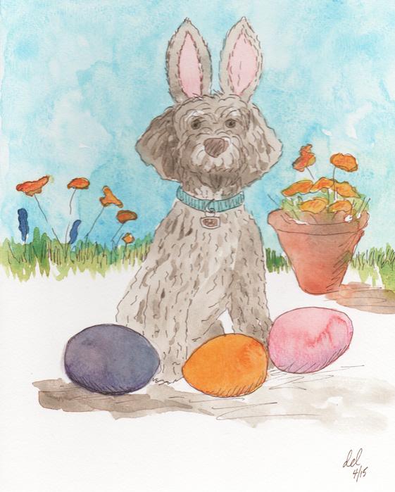 The Easter Mokie - watercolor, ink