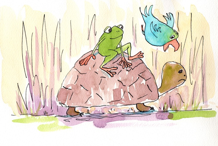 Caruso, Leo and Turtle, watercolor and ink