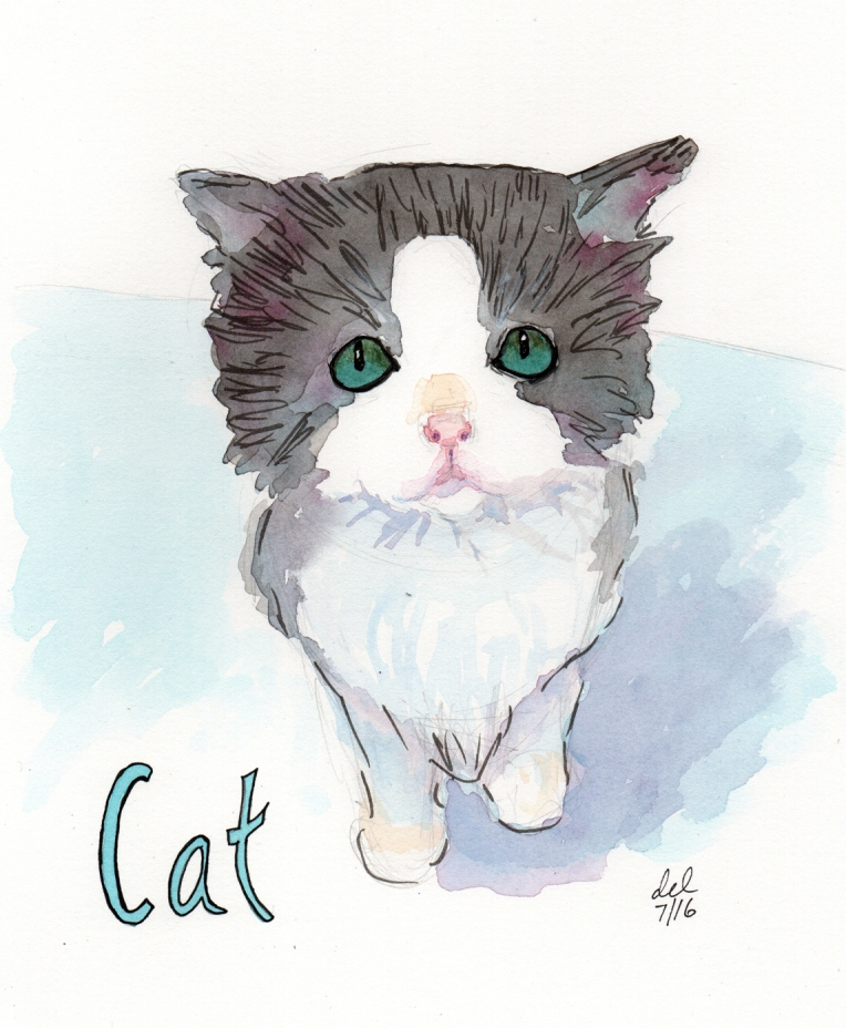 Cat - 8x10 - watercolor