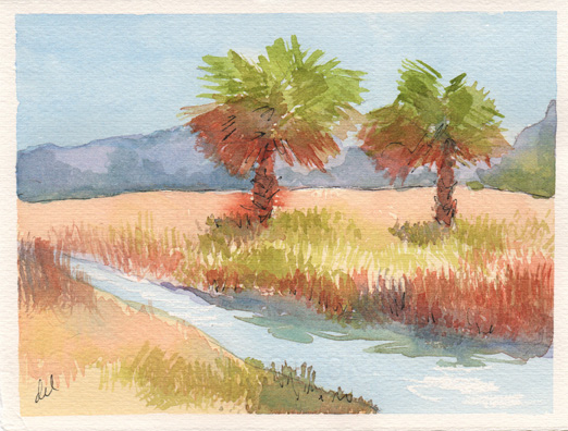 Ranch Palms - watercolor