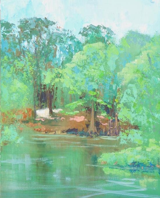 Garden Pond - 10x8 - gouache on panel