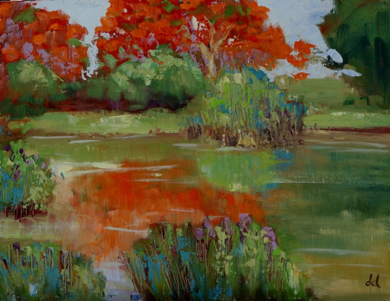 Flamboyant Pond - 9x12 oil on board