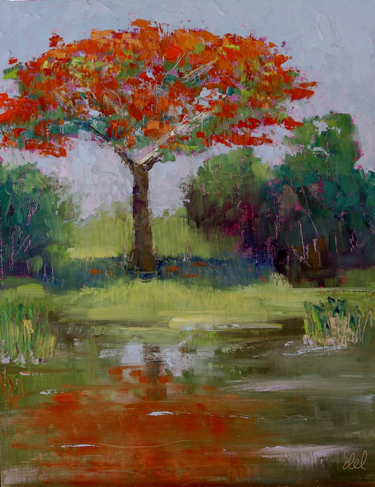 Flamboyant Reflections - 14x11 oil on board